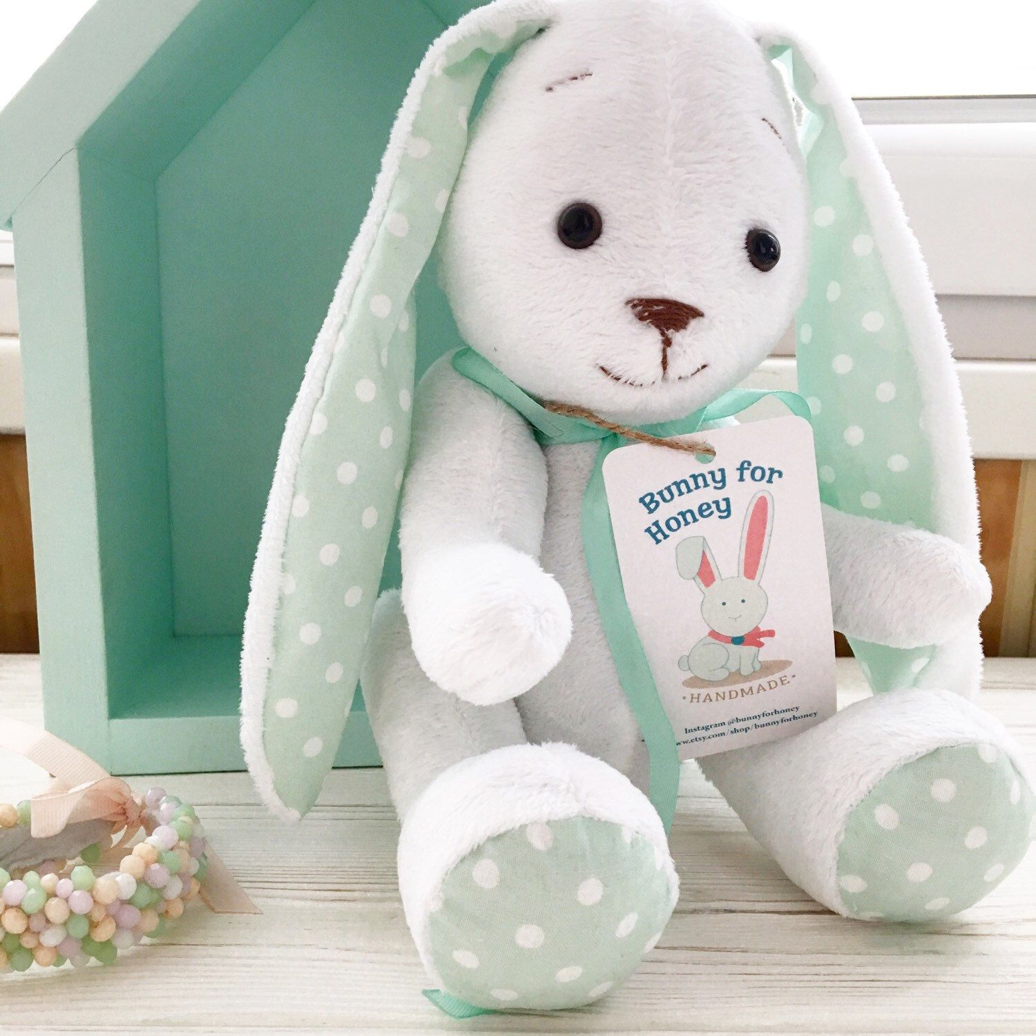 Etsy Bunny Rabbit Mint White Baby Gift Cool Gifts For Kids Gender Neutral Gift Birthday Gifts For Kids