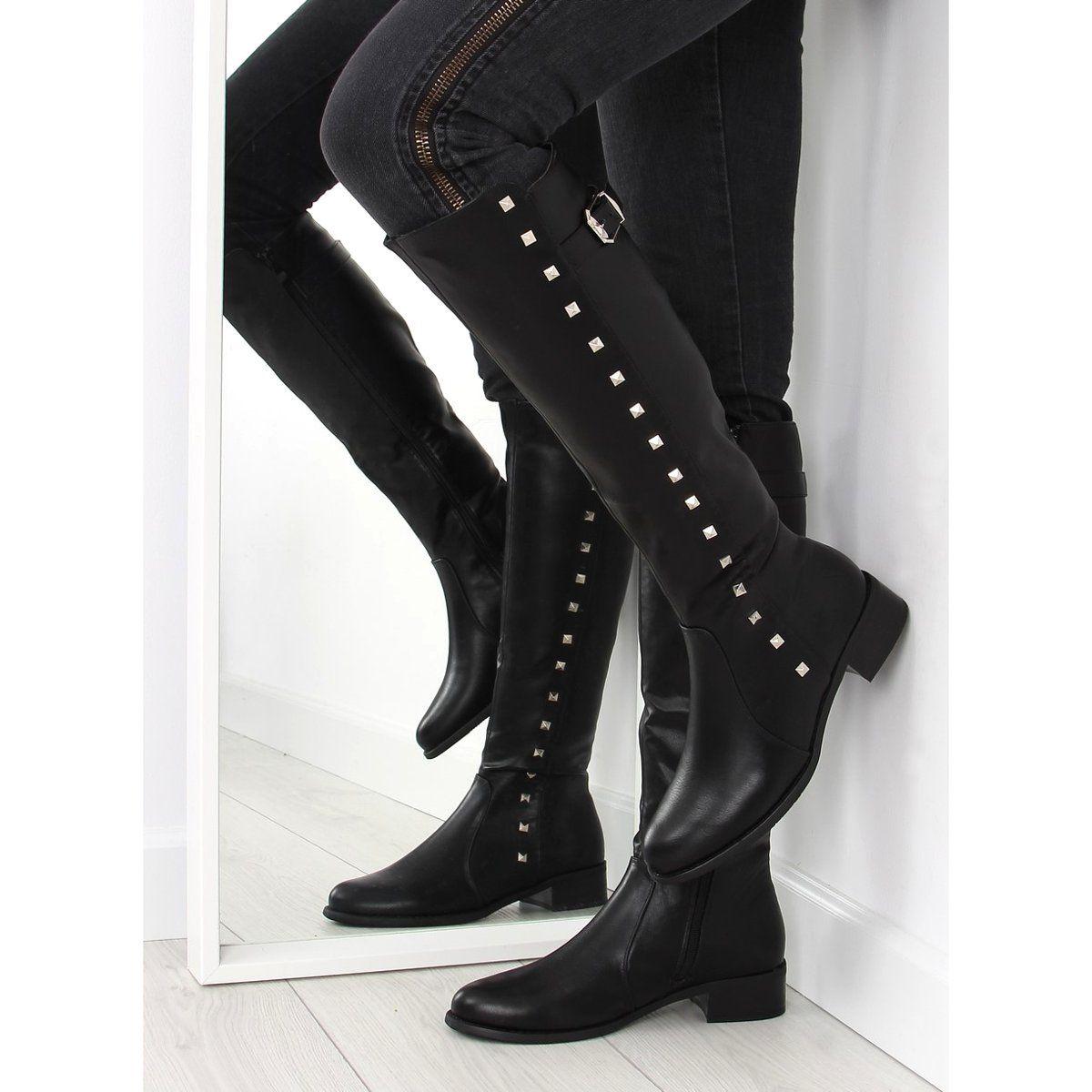Kozaki Damskie Obuwiedamskie Oficerki Z Cwiekami Czarne Pe115p Black Obuwie Damskie Boots Knee Boots Stiletto Boot