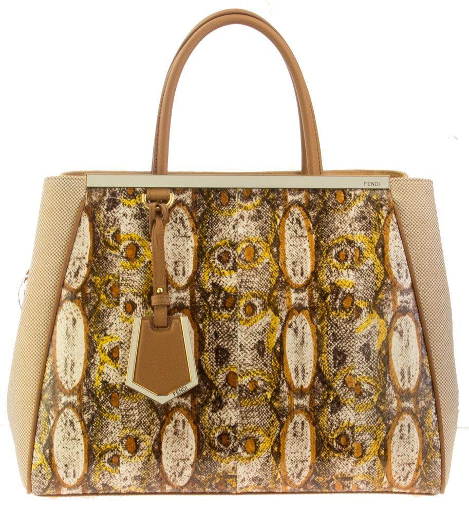 Fendi 2Jours Printed Snake and Canvas Tweed Tote Bag