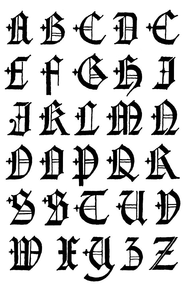 Gothic Letters A Z English Capitals