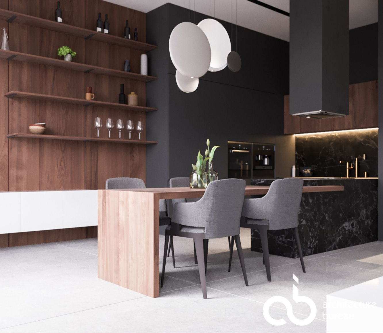 THE IMPELLING MOON | Kitchen | Moscow, Russia | 3d visualization | design  by Ab