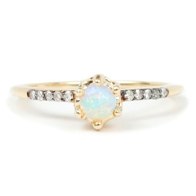 16 Opal Engagement Rings You Ll Fall In Love With Via Brit Co