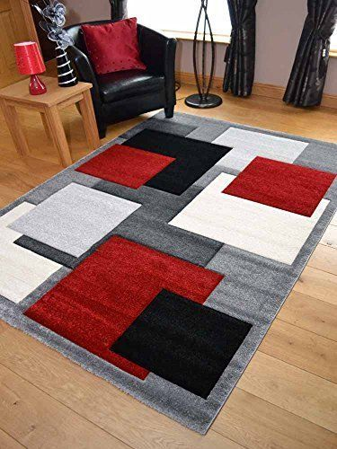 Modern Rug Carpet Square Decoration Home Floor Bedroom Living Thick Playroom Black And Red Living Room Black Living Room Decor Black And Silver Living Room