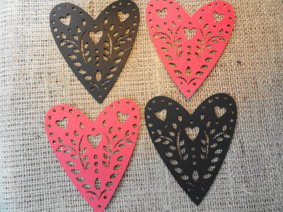 Red Ornate Valentine Heart Die cuts Set of 12 by LeCardShoppe, $6.95
