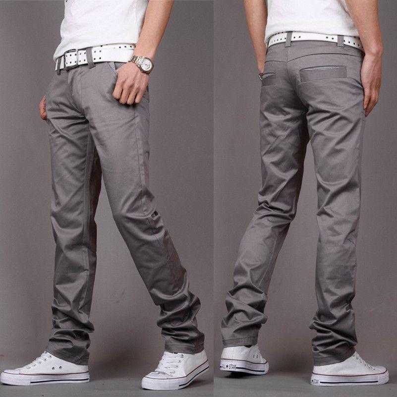Casual Men's pants red/black/gray/khaki/blue trousers 28/29/30/31 ...
