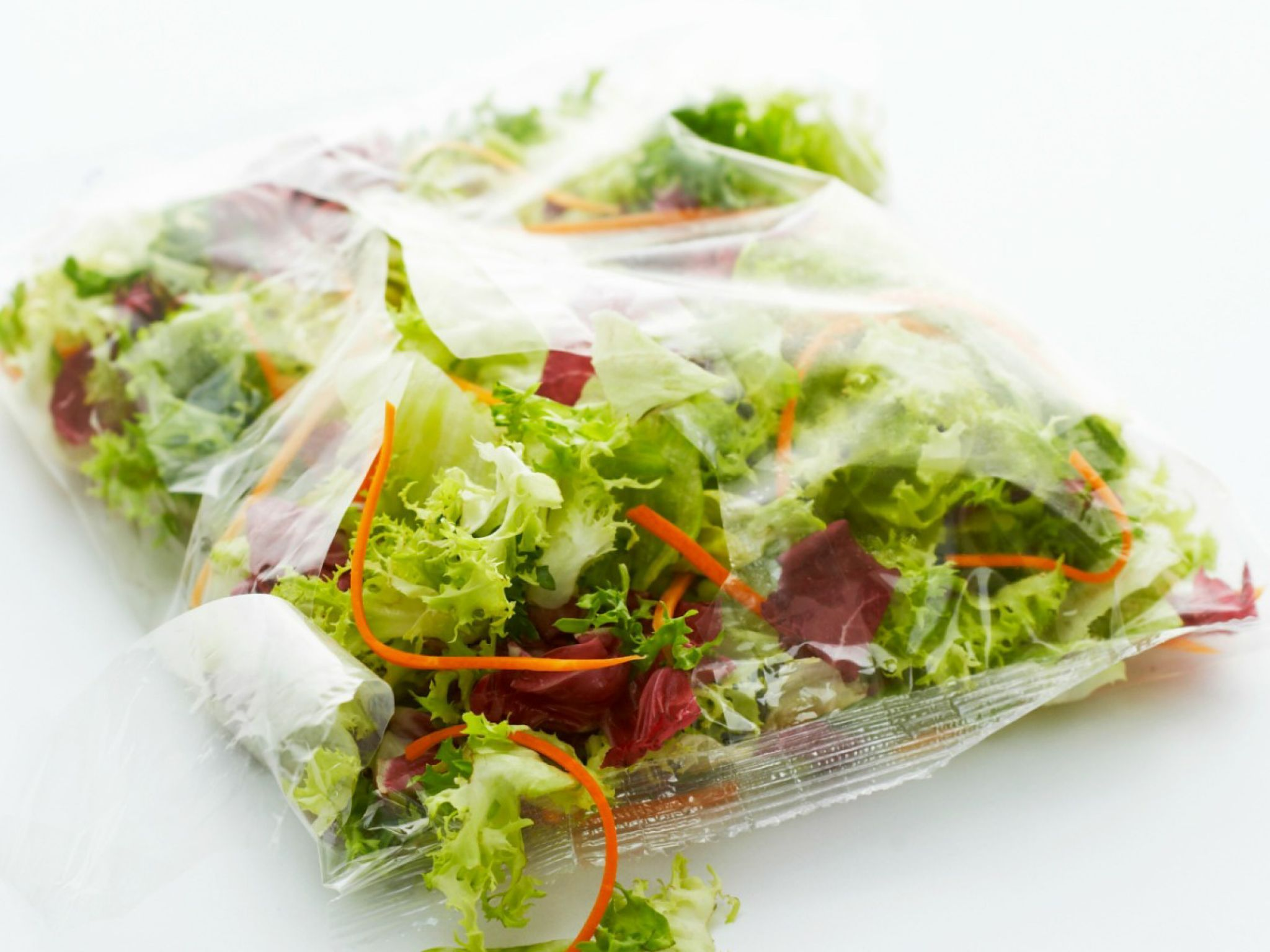 Bags of Prewashed Greens : Some produce will last for weeks —but, sadly, not packaged lettuces and spinach. Even if the leaves aren't wilted, heed the expiration date on the bag to avoid exposing yourself to bacterial growth.  Photo: Marc O. Finley/Getty