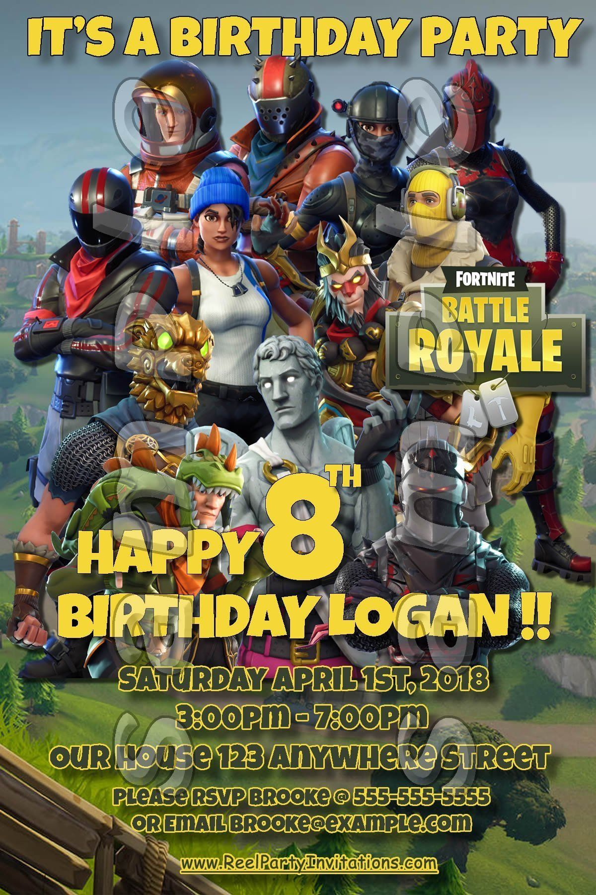Fortnite 4x6 printed birthday party invitations with