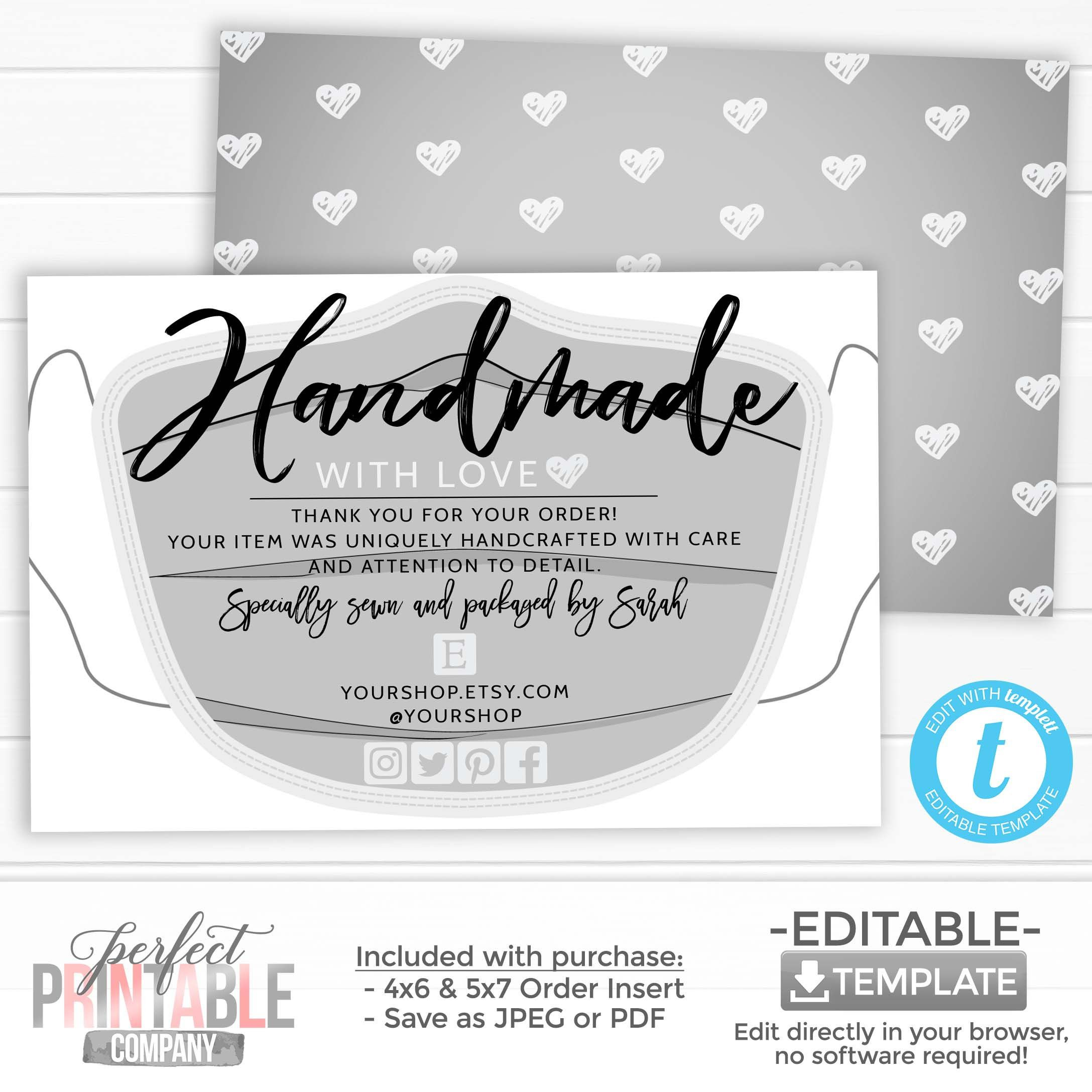 Gray Face Mask Thank You For Your Order Card Handmade With Etsy Love Cards Cards Printed Cards