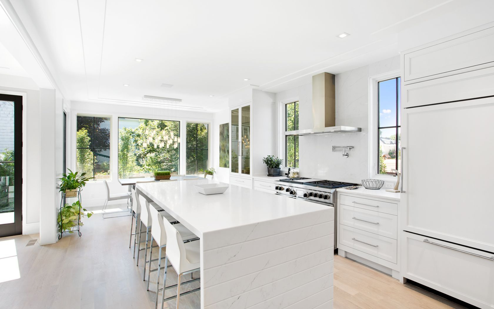Modern White Kitchen With Beautiful Waterfall Island Stepped Drywall Ceiling A True Gem White Modern Kitchen Home Decor Kitchen White Kitchen Rustic