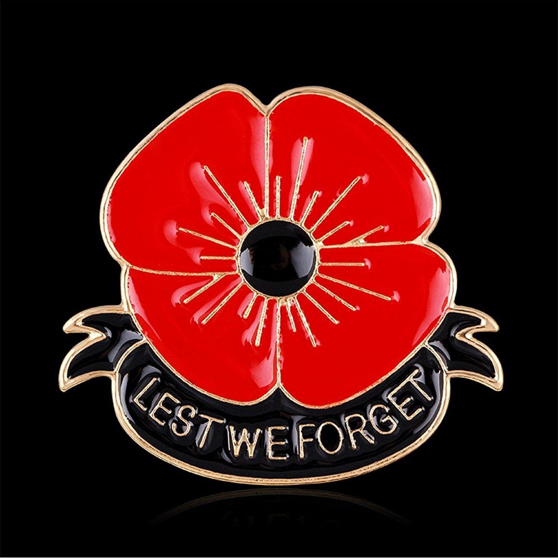 Vintage Remembrance Day Ww1 Poppy Pin Badge Enamel Brooch