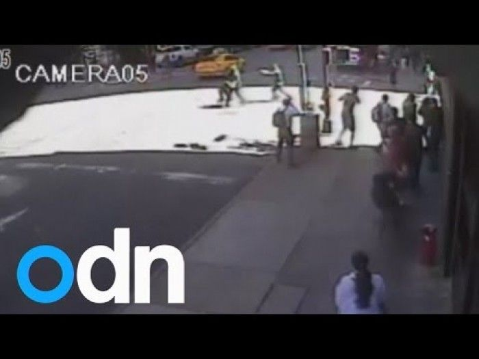 The moment police shoot NYC hammer attack suspect