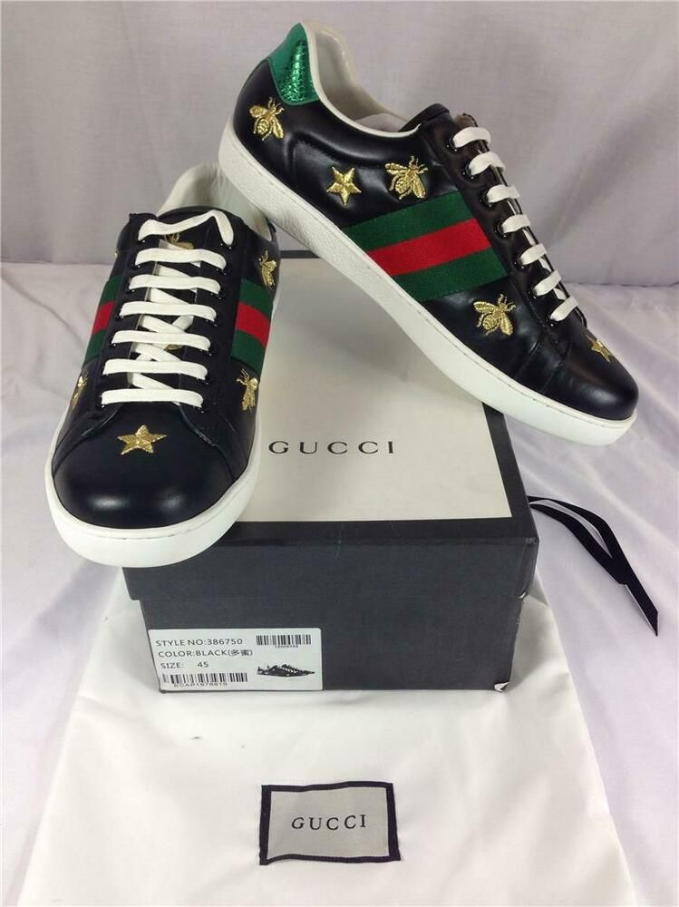 75c0ae0e2 NEW! Men's Gucci Ace Embroidered Sneakers Gold Stars & Bees #386750 Size 45  #Gucci #FashionSneakers