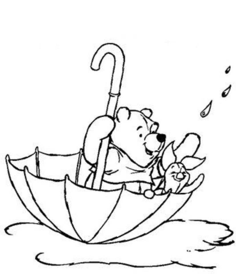 Winnie The Pooh Coloring Pages Winnie The Pooh Pictures Spring Coloring Pages Umbrella Coloring Page