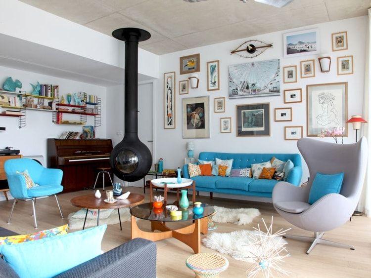 Du bleu pour un salon cosy et vintage | Déco salon/salle à manger ...
