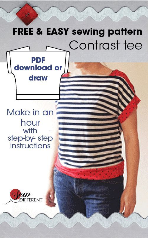 Contrast Tee Free Sewing Pattern Sewing Patterns Tutorials And