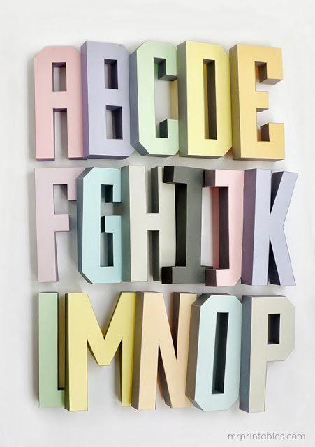 Plantillas De Letras En 3d A B C D Pinterest Alphabet