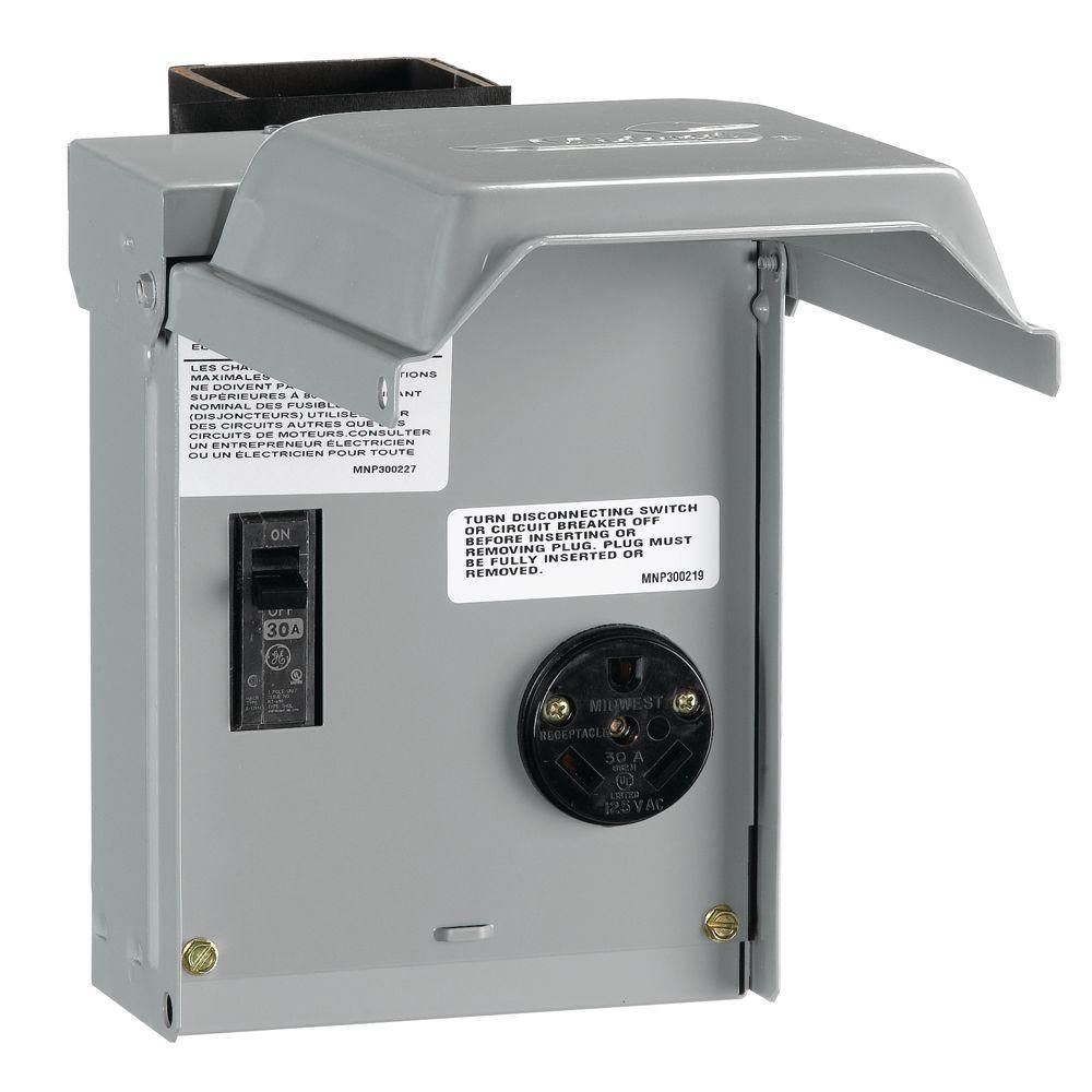 hight resolution of ge 30 amp temporary rv power outlet with breaker u013cp the home depot