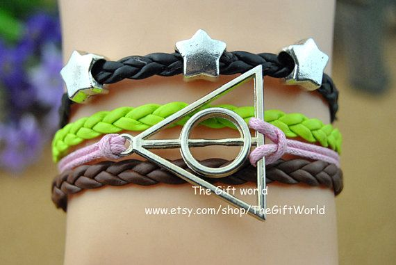 Silvery Fivepointed  star charm & Harry Potter and by TheGiftWorld, $3.99 Simple fashion handmade woven bracelet, the best gift of friendship.