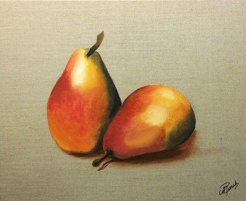 Nature morte - poires - peinture à l'huile - toile de lin brut -
