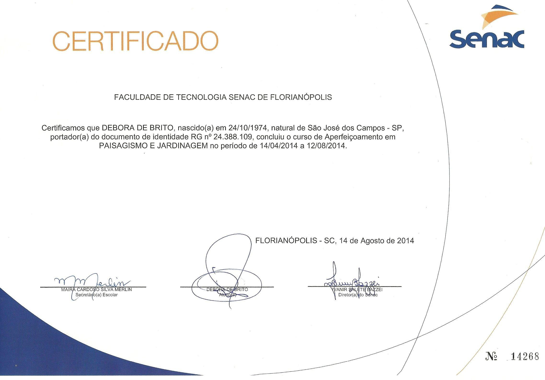 Certificado de conclusão de Curso de Paisagismo do SENAC | Diplomas ...