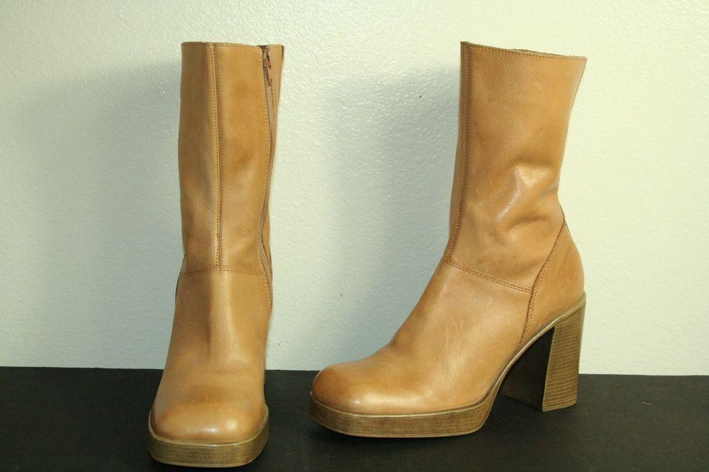 fe988d1353b7 Steve Madden boots chunky platform tan leather vintage 90 s size 10 B   SteveMadden  Vintage