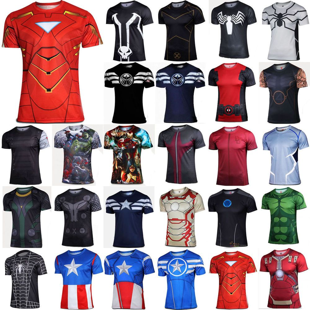 Junior SuperHeroes Costume T-Shirt Short Sleeve Running Tops Jersey Tee Cycling