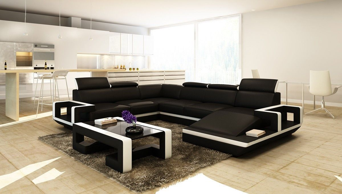Divani Casa 5102 Modern Black & White Bonded Leather Sectional Sofa ...