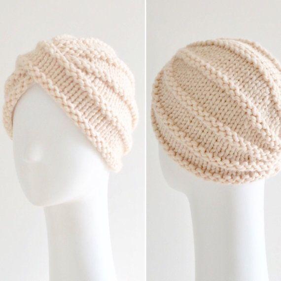 Knit wool turban hat chunky turban hat in ivory | Turbante, Lana y ...