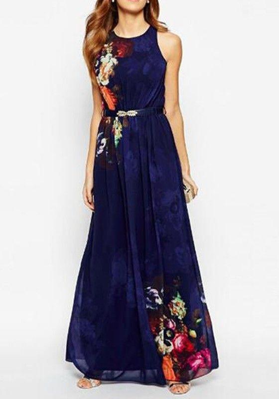dd9e1fc4fc Blue Floral Sleeveless Floor Length Flowy Maxi Dress