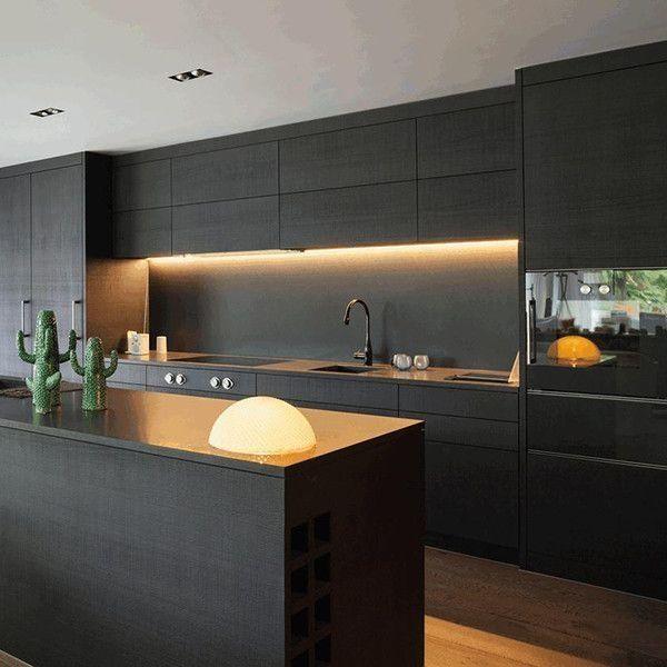 Modular Kitchen Island: 39 Beautiful Matte Black Kitchen Design Ideas