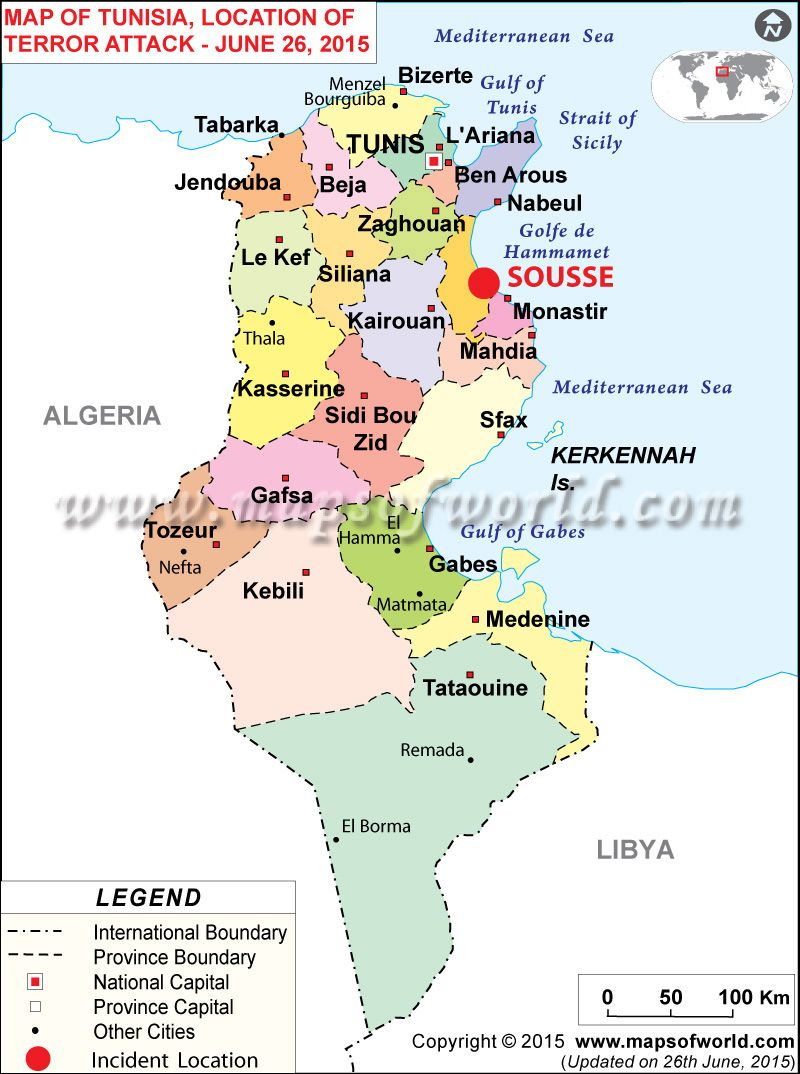 Tunisia news at least 27 people were killed when gunmen attacked a political map of tunisia illustrates the surrounding countries with international borders 24 governorates boundaries with their capitals and the national sciox Images