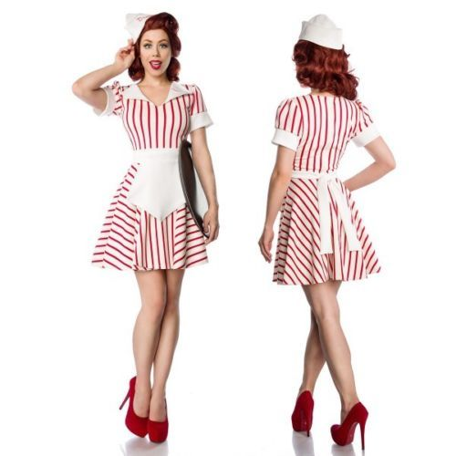 american diner girl waiter waitress maid 50s retro costume fancy dress new xs xl distant. Black Bedroom Furniture Sets. Home Design Ideas