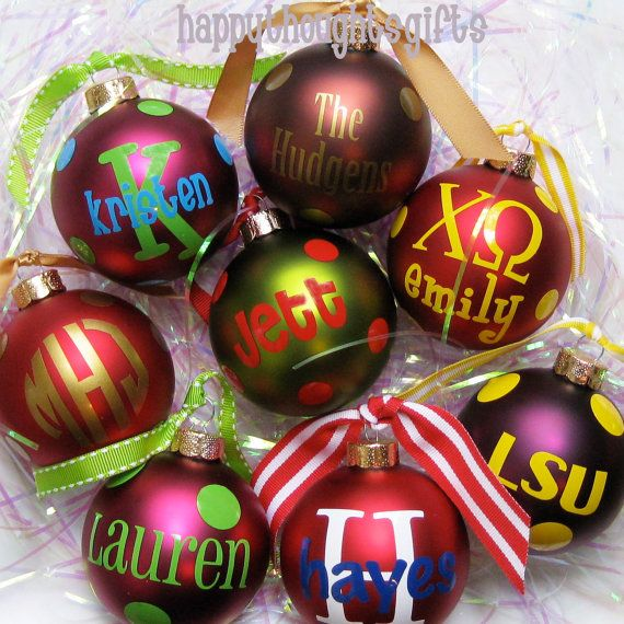 Monogrammed ornaments - school colours and letters??