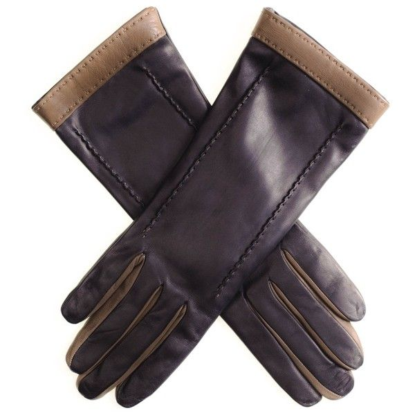 Black and Taupe Musketeer Leather Gloves (£89) ❤ liked on Polyvore featuring accessories, gloves and leather gloves