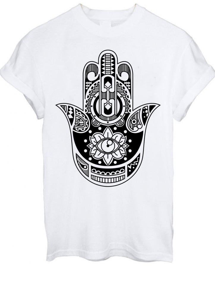 2108ad657 Hamsa Hand Tattoo Khamsa Protection Symbol aztec Eye Men Women Unisex T- Shirt Top: Amazon.co.uk: Clothing