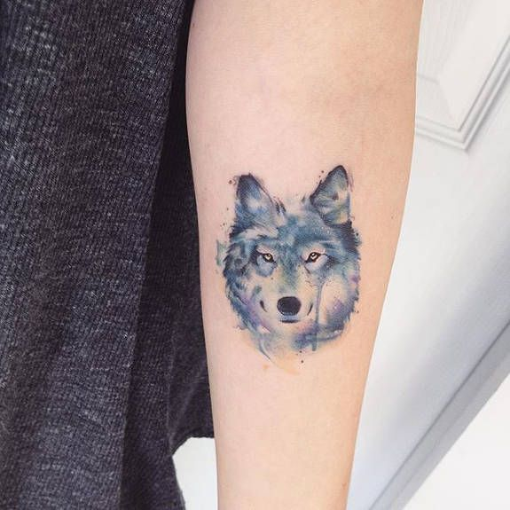 Water Color Wolf Tattoo By Adrian Bascur Tattoos Small Wolf Tattoo Neck Tattoo