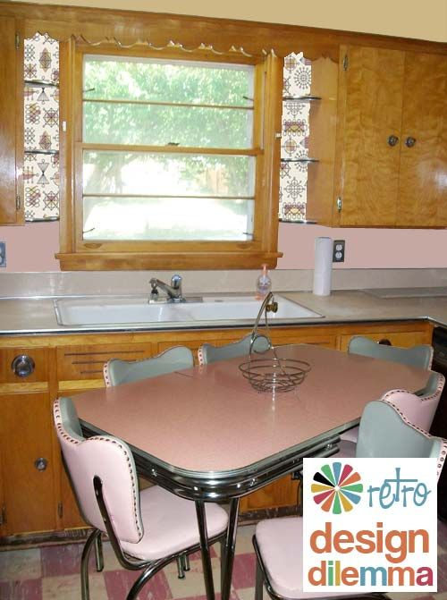 Pink Retro kitchen. The dilemma is: I want it. ;)