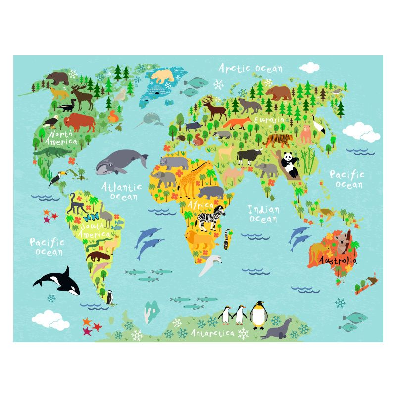 World Map For Children Poster Kids Decoration Illustrations