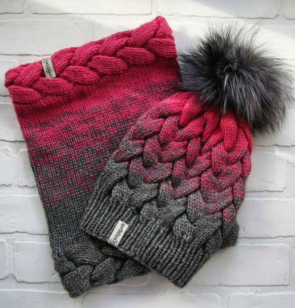 шапка с градиентом зимняя тема вязание вязаные шапки и шапочка