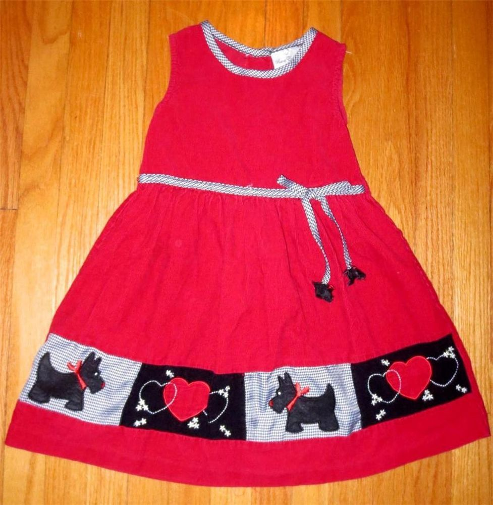 7926173b0e54 Girls Rare Editions Red Corduroy Scotty Dog Dress Jumper Size 7 Scottish  Terrier Now $10.87