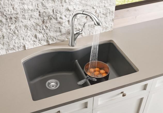 Genial Blanco Diamond, Undermount Low Divide Granite Composite Sink, 1 3/4 Bowl,  Silgranit PuraDur