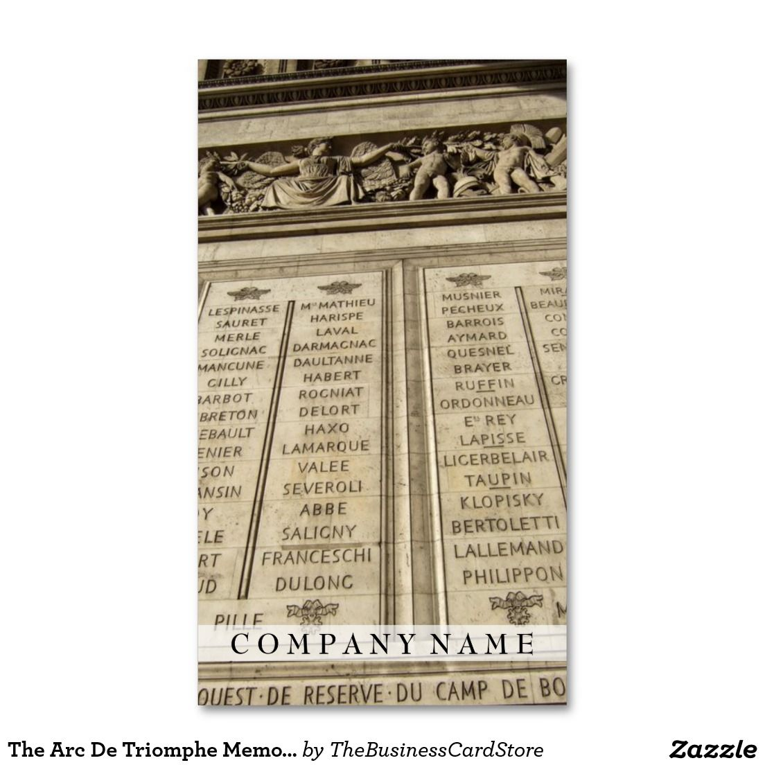 The arc de triomphe memorial paris france business card french the arc de triomphe memorial paris france business card colourmoves Image collections