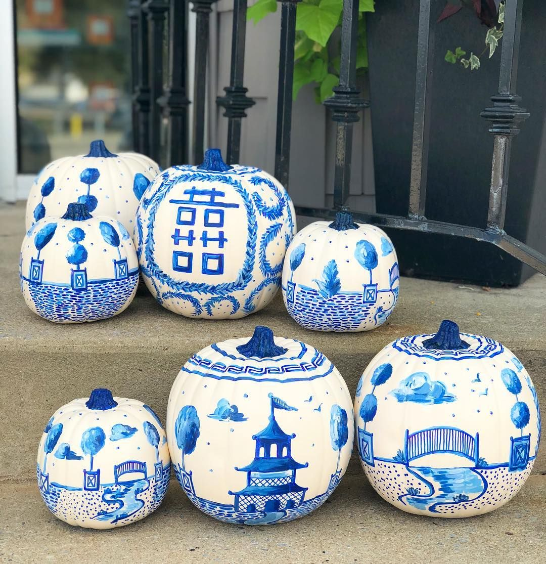 Everyone Is Turning Their Pumpkins Into Chinoiserie Pieces of Art