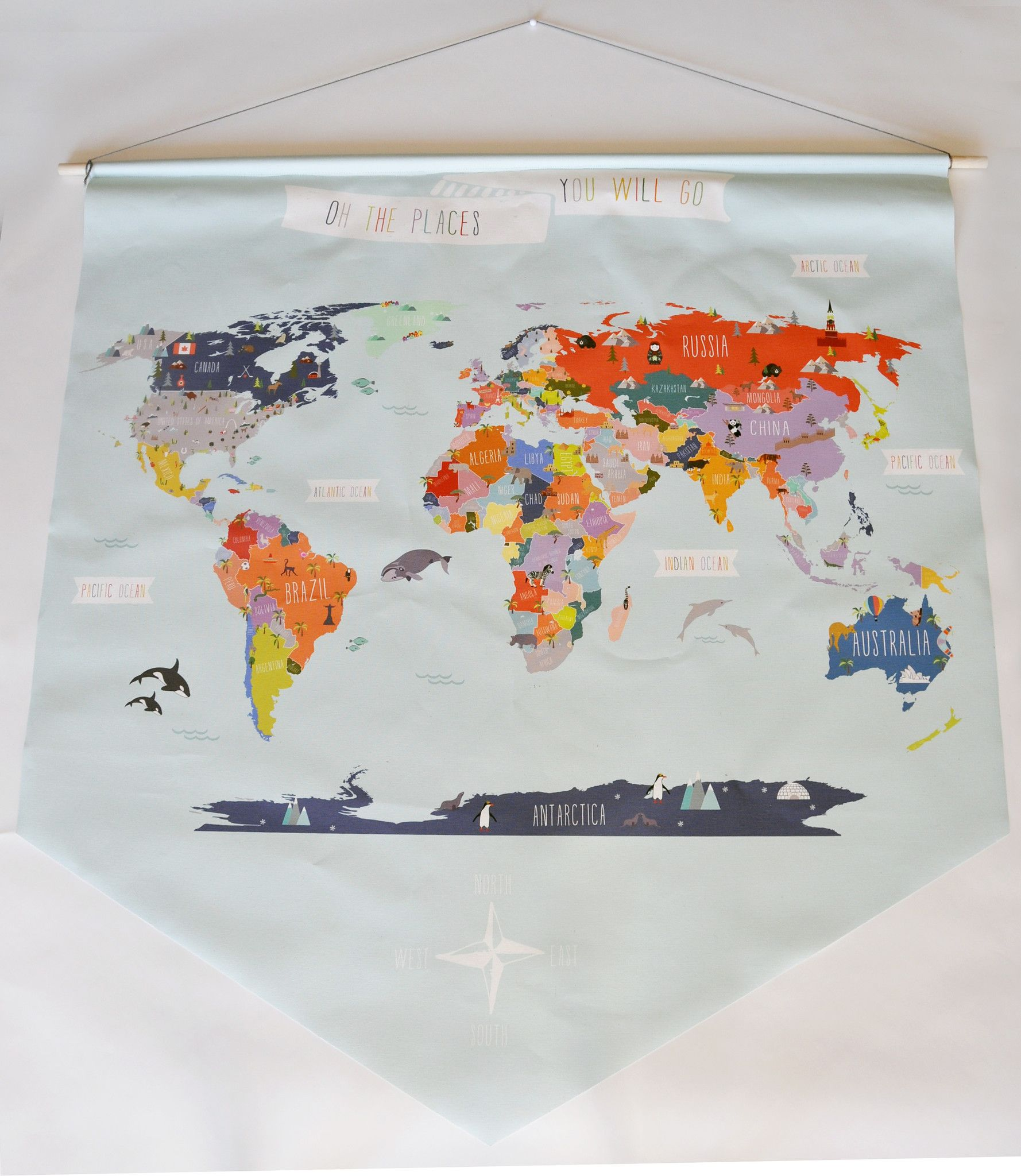 Giant canvas wall banner world map wall banner canvas walls and giant canvas wall banner world map gumiabroncs Images