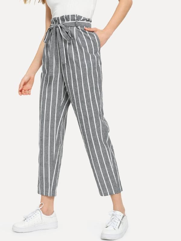 Photo of Pantalon à rayures con decorazione -French SheIn (Sheinside)