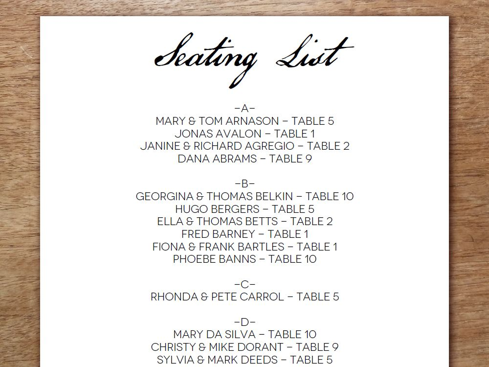 Easily Make Your Own Wedding Seating List With This Black And White Calligraphy Modern Printable