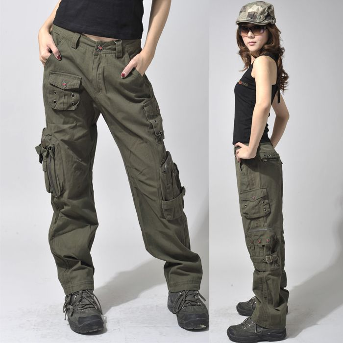 women's army cargo outdoor hiking straight mid waist sports casual ...