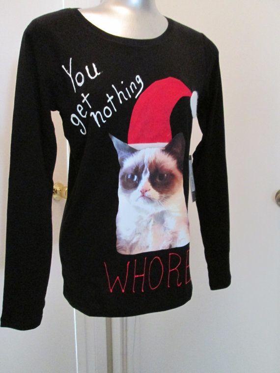 Grumpy Cat Ugly Christmas Sweater.Grumpy Cat Ugly Christmas Sweater Shirt Adult Content No