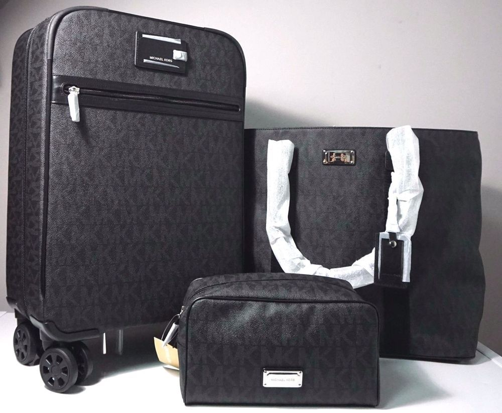 Michael Kors Signature Black Travel Trolley Tote Amp Pouch