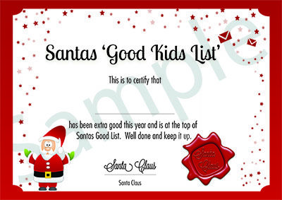 Santas good list certificate from magic santa mail www santas good list certificate from magic santa mail magicsantamail m4hsunfo Images